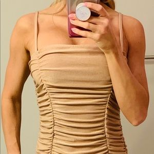 Nude/Bronze Ruched Cami Maxi Dress